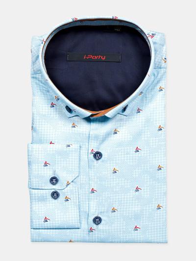I Party sky blue printed cotton shirt