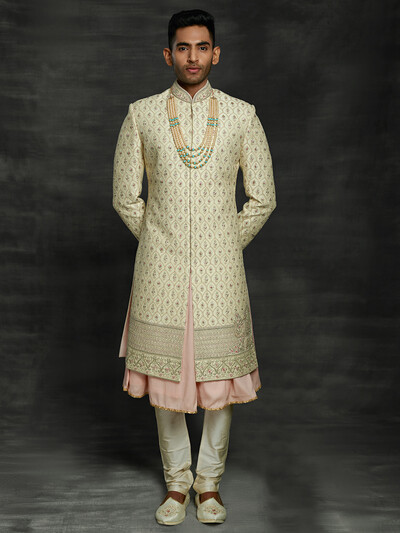 Iconic beige double layer sherwani in silk
