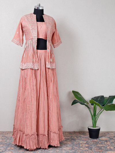 Iconic onion pink silk suit with stone work jacket
