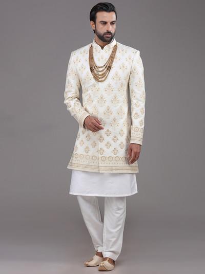 Indo western in cream silk