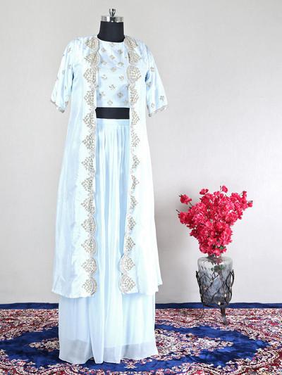 Indowestern blue rawsilk suit for wedding