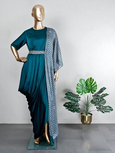 Indowestern green silk wedding wear suit
