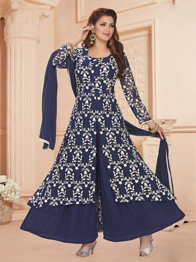 Innovative blue georgette punjabi style festive wear palazzo suit