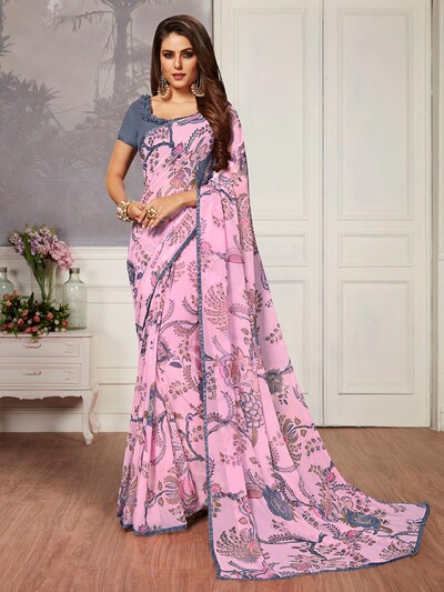 Innovative pink printed georgette saree for festive wear