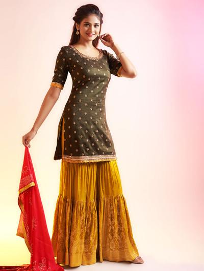 Interesting olive and mustard punjabi style festive wear salwar suit
