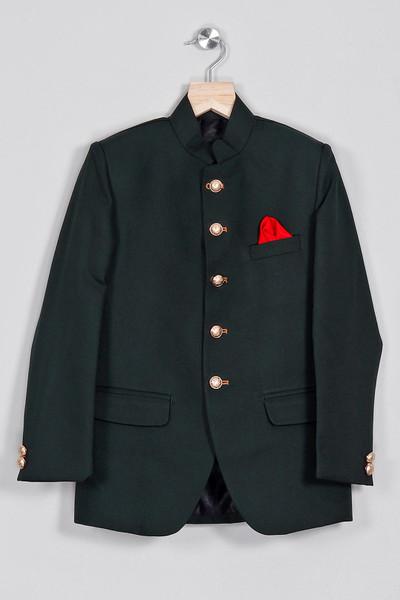 Jodhpuri suit in black cotton party wear