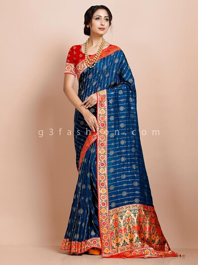 kanjivaram silk Beige and blue traditional wear exclusive saree