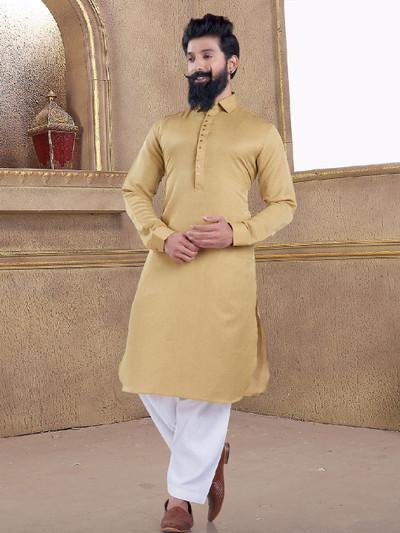 Khaki color cotton silk pathani suit