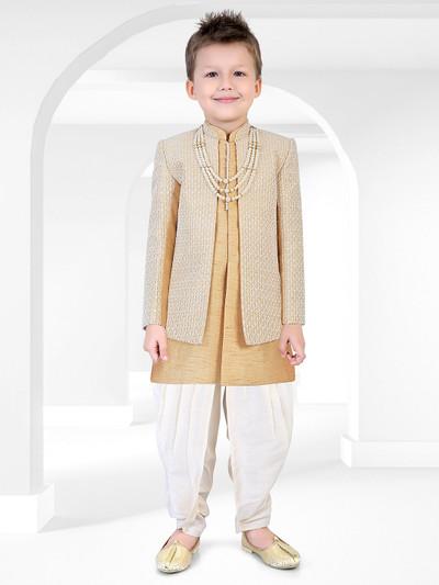 Khaki hue cotton silk fabric party wear indo western