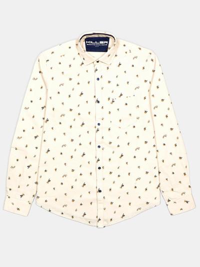Killer beige printed cotton casual shirt