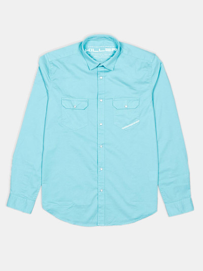 Killer presented solid electric blue shirt for mens