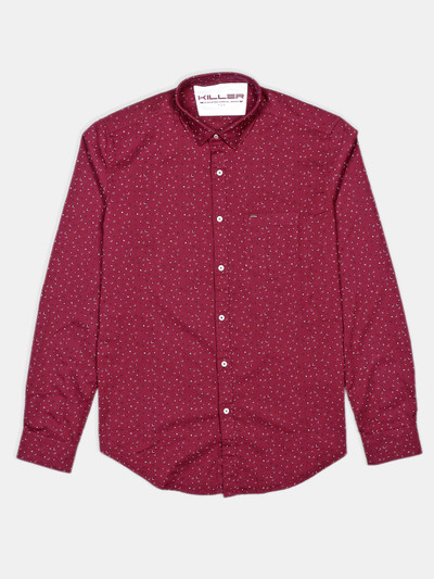 Killer printed maroon casual shirt in cotton