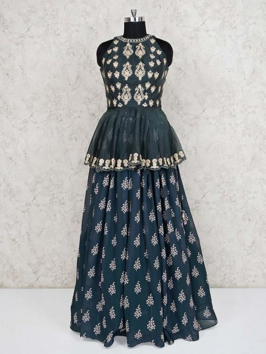 `Grey Peplum Style Designer Lehenga Choli
