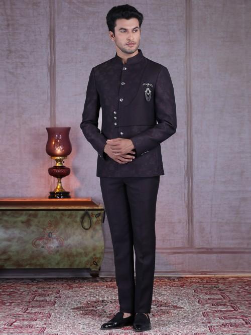 A Perfect Wine Purple Terry Rayon Jodhpuri Suit