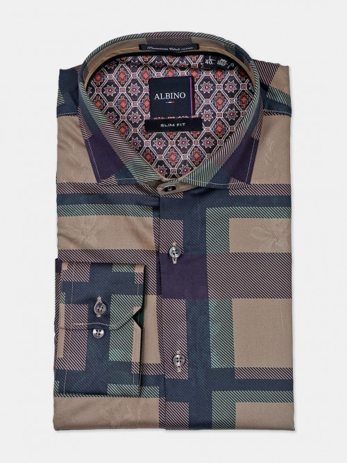 Albino Mens Khaki Checks Pattern Shirt