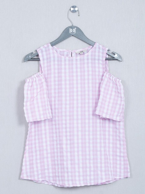 AND Pink Cotton Casual Wear Top