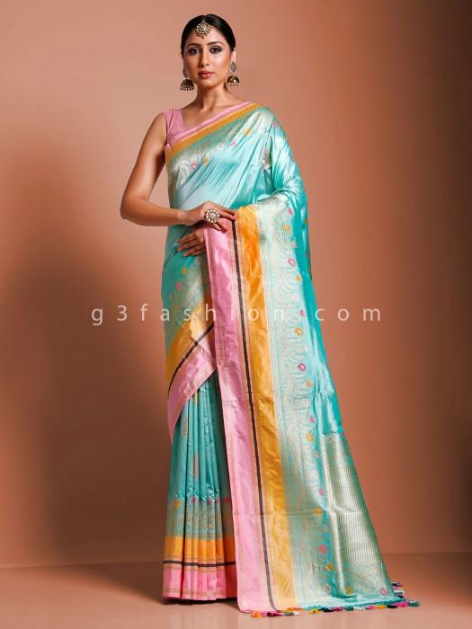 Aqua Pure Handloom Banarasi Silk Beautiful Saree