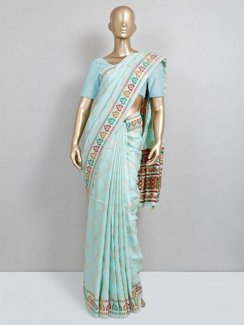 Aqua Dola Silk Wedding Saree Design