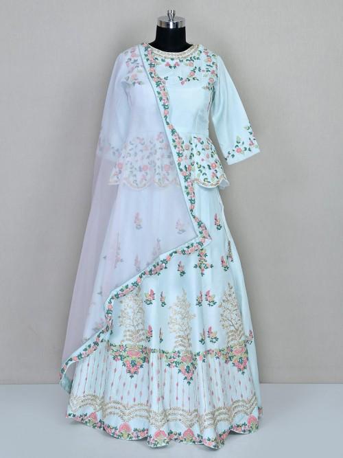 Aqua Wedding Wear Lehenga Choli In Silk