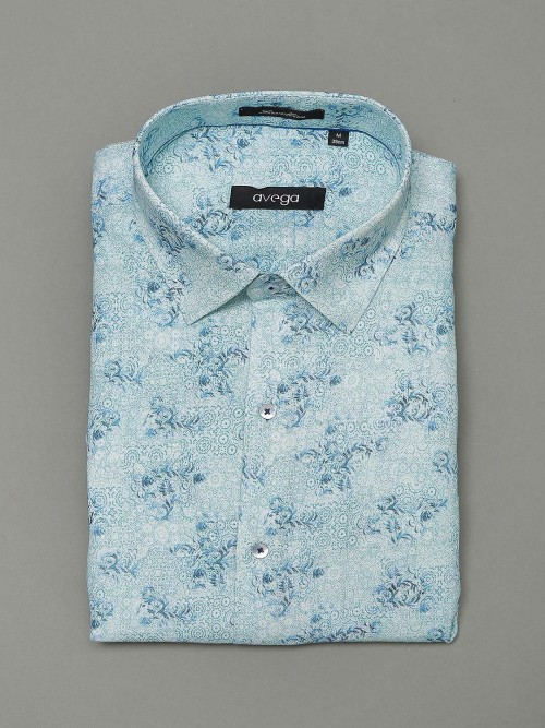 Avega Blue Printed Pattern Cotton Shirt