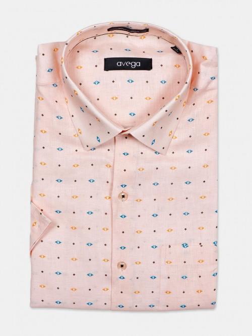 Avega Formal Peach Printed Linen Shirt