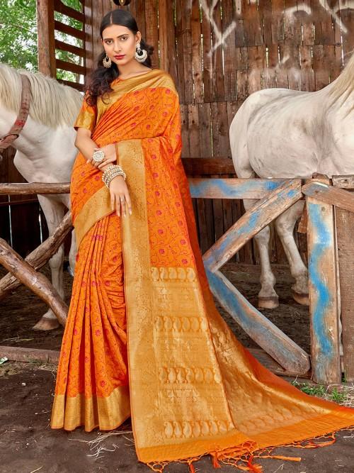 Banarasi Printed Saree In Orange For Wedding
