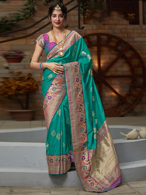 Banarasi Silk Wedding Green Latest Saree