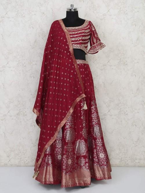 Beautiful Maroon Banarasi Silk Lehenga Choli