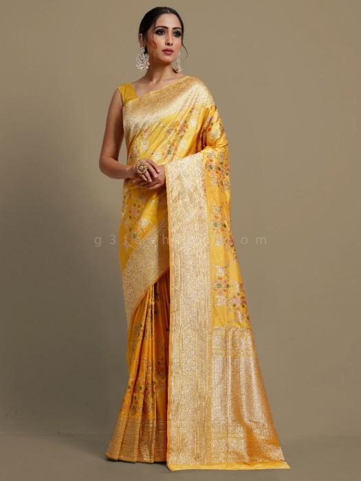 Beautiful Yellow Banarasi Silk Saree