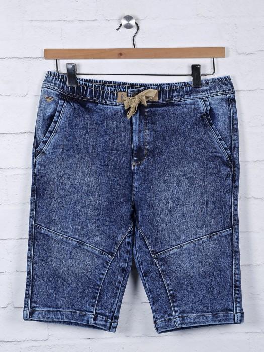 Beevee Blue Color Denim Solid Shorts