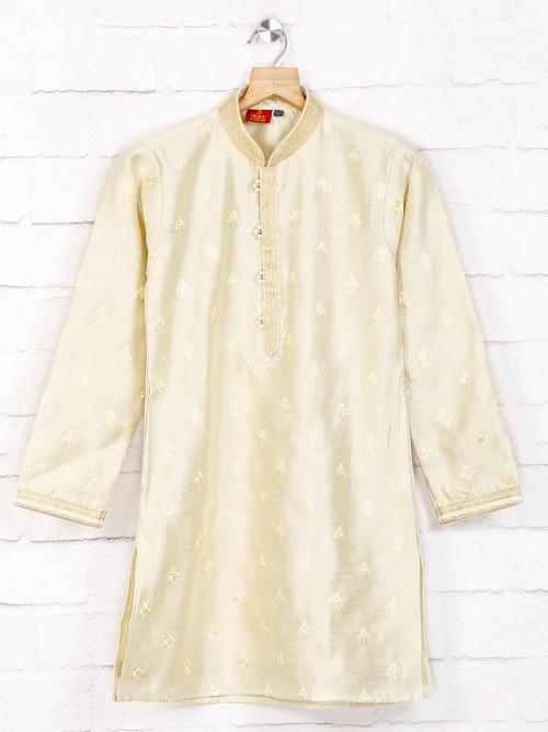 Beige Cotton Festive Wear Kurta Suit