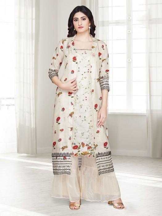 Beige Cotton Punjabi Sharara Suit In Printed