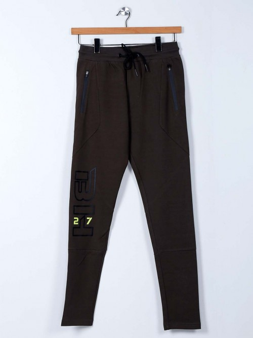Being Human Solid Brown Cotton Track Pant