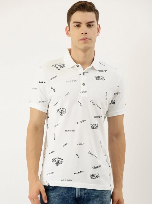 Being Human White Printed Cotton Half Sleeve T-shirt