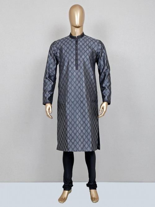 Black Cotton Silk Mens Kurta Suit Festive Wear