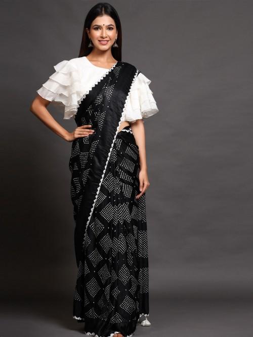Black Gaji Silk Saree With Readymade Blouse