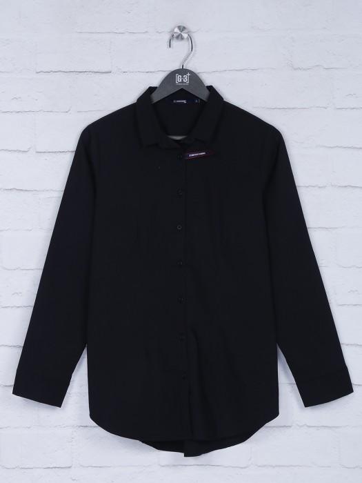 Black Hue Collar Neck Solid Top