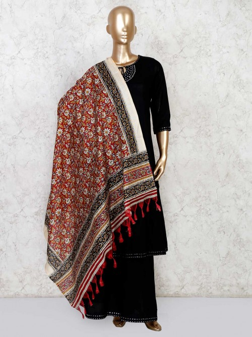 Black Palazzo Suit With Embellished Dupatta