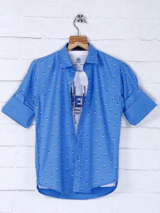Blazo Blue Printed Cotton Fabric Shirt