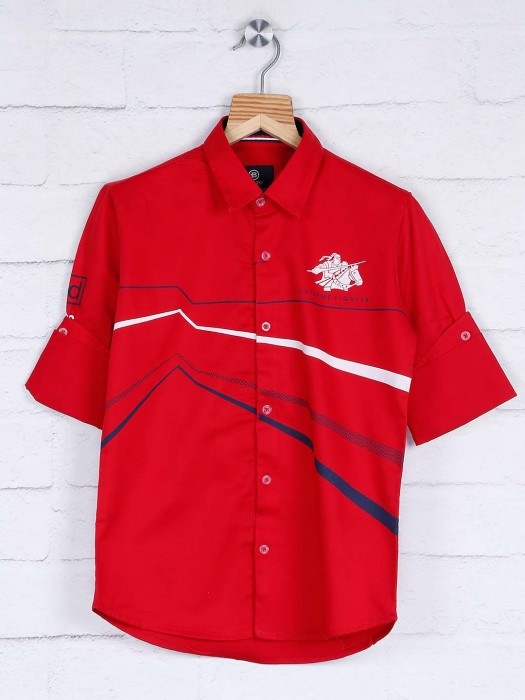 Blazo Presented Red Color Stripe Shirt