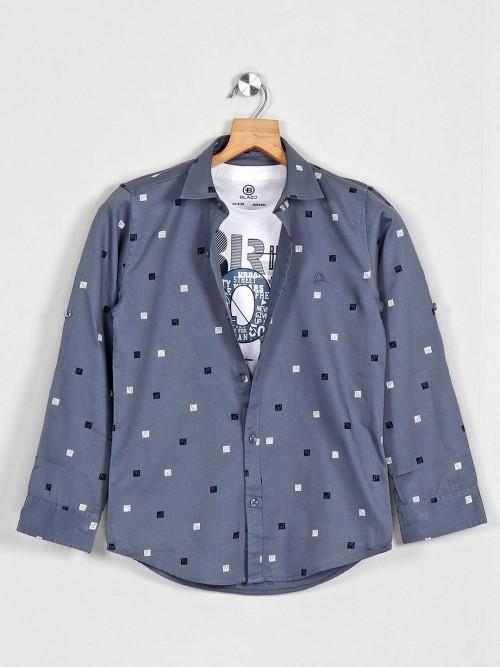 Blazo Printed Casual Grey Cotton Shirt