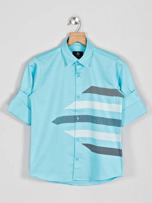 Blazo Sea Green Printed Boys Cotton Shirt