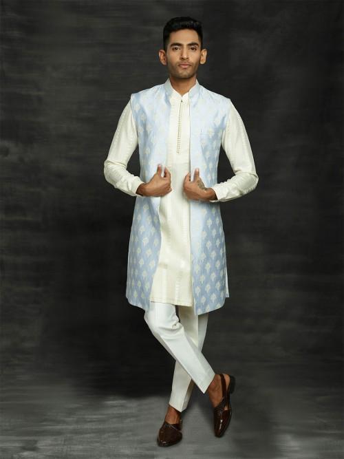 Blue And Cream Silk Indo Western