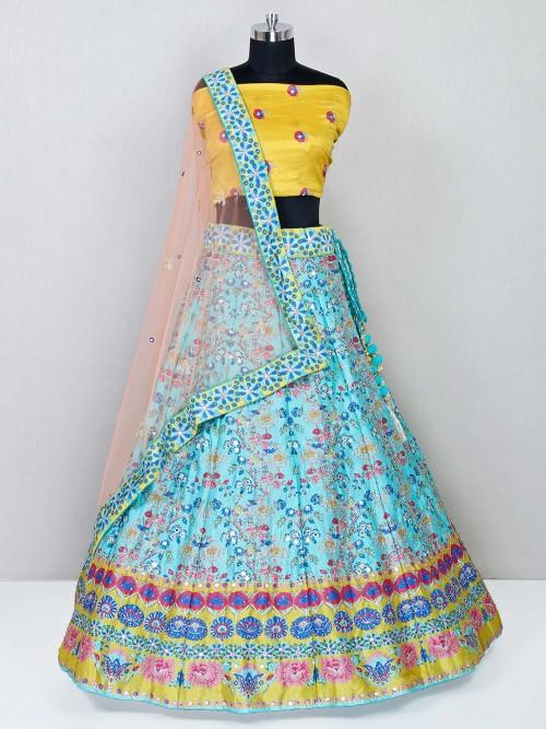 Blue And Yellow Raw Silk Wedding Lehenga Choli