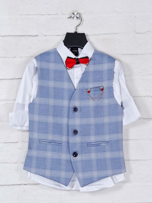 Blue Cotton Boys Waistcoat For Party