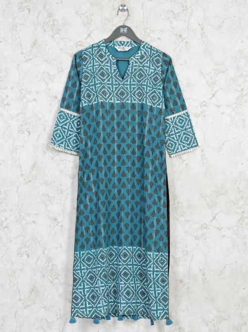 Blue Cotton Casual Printed Kurti