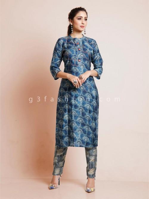 Blue Cotton Festive Wear Pant Suit In Printed