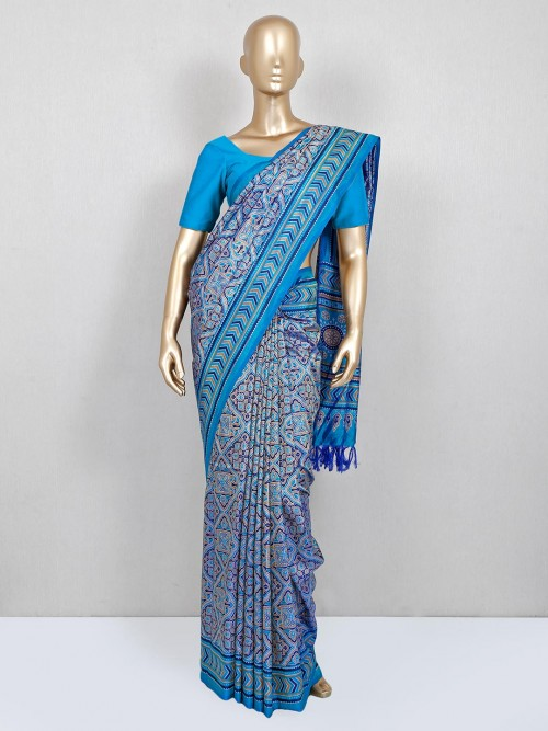 Blue Cotton Printed Saree For Women