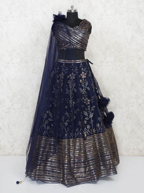 Blue Cotton Silk Designer Lehenga Choli