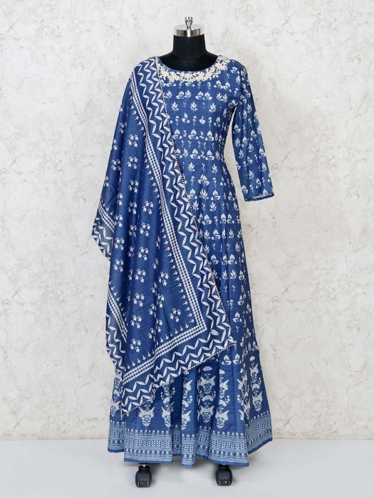 Blue Cotton Silk Printed Anarkali Suit For Festive